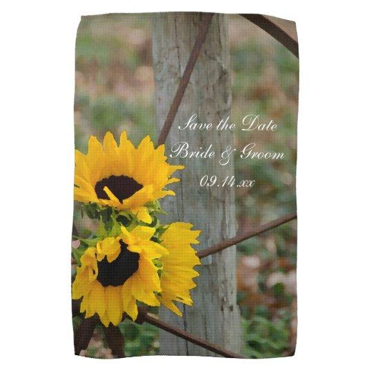 Sunflowers and Wagon Wheel Wedding Save the Date Kitchen Towel