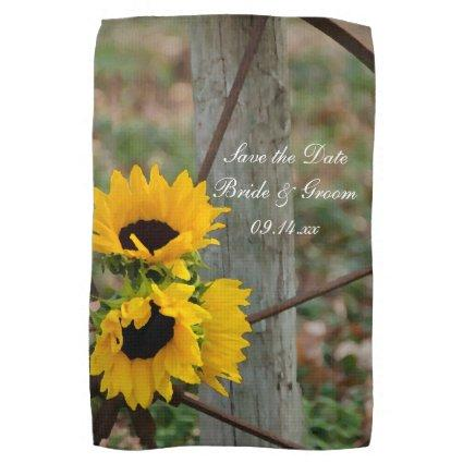 Sunflowers and Wagon Wheel Wedding Save the Date Towel