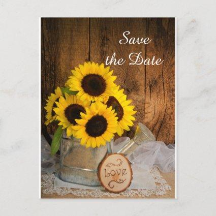 Sunflowers and Watering Can Wedding Save the Date Announcement