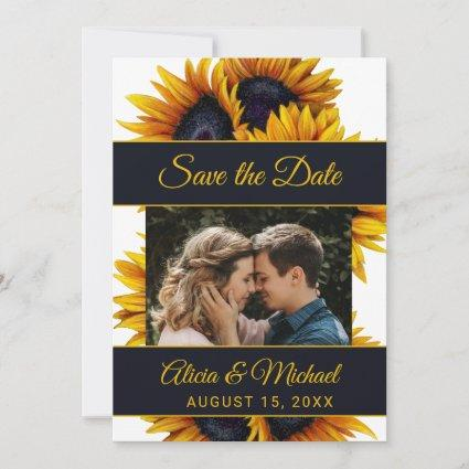 Sunflowers Bloom | Gold and Navy Photo Wedding Save The Date