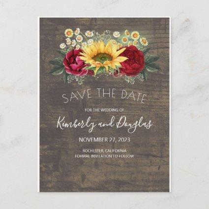 Sunflowers & Burgundy Red Rose Fall Save the Date Announcement