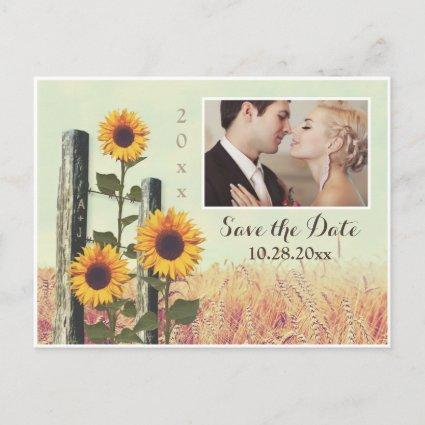 Sunflowers Carved Fence Save the Date Cards