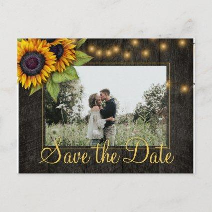Sunflowers country Christmas save the date wedding Announcement