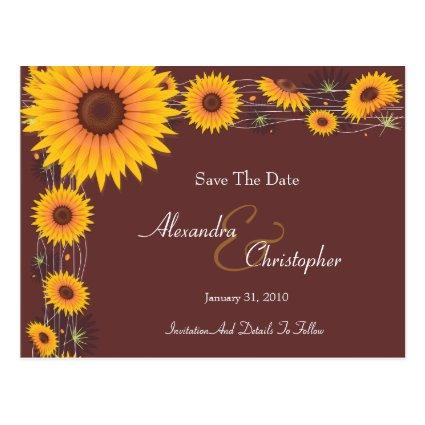 Sunflowers Elegant Save The Date Announcement 2