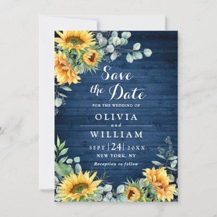 Sunflowers Eucalyptus Watercolor Rustic Wedding Save The Date