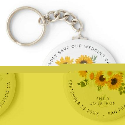 Sunflowers Floral Rustic Keepsake Save The Date Keychain