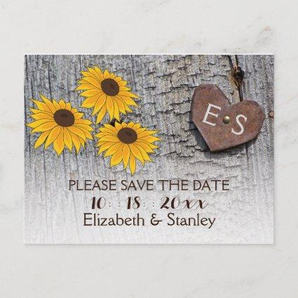 Sunflowers & heart on wood wedding Save the Date Announcement