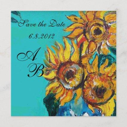 SUNFLOWERS IN BLUE TURQUOISE SUMMER PARTY MONOGRAM SAVE THE DATE