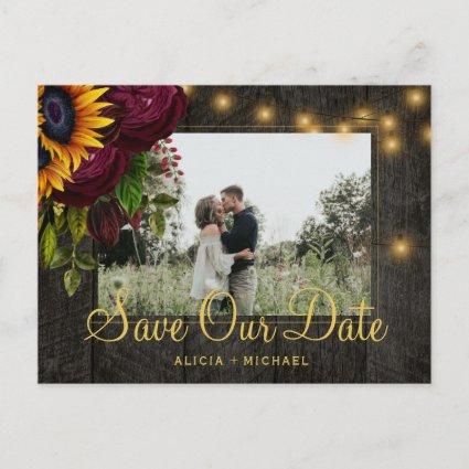 Sunflowers roses barn wood save the date wedding announcement