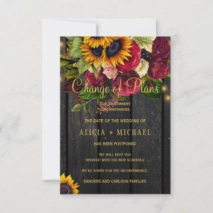 Sunflowers roses PHOTO wedding change of plans Save The Date