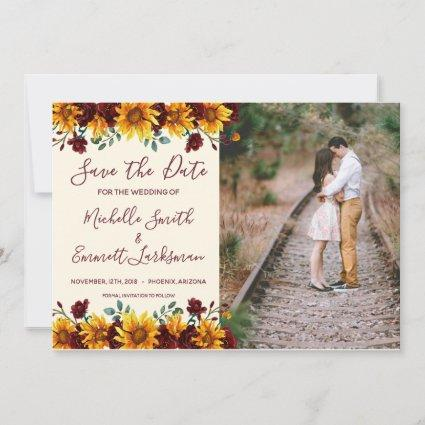 Sunflowers Rustic Country Burgundy Save the Date