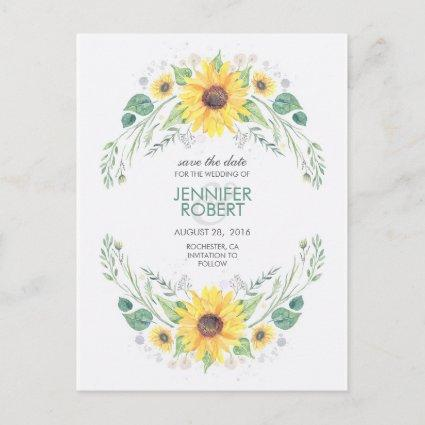 Sunflowers Rustic Country Save the Date Announcement