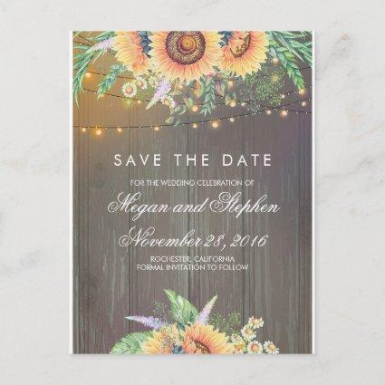 Sunflowers Rustic Save the Date Announcement