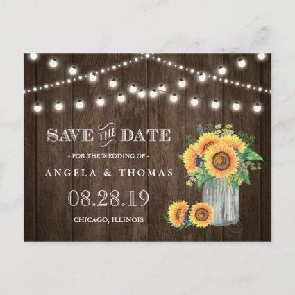 Sunflowers Save the Date Rustic Wood String Lights Announcements Cards