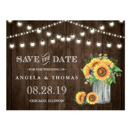 Sunflowers  Rustic Wood String Lights Cards