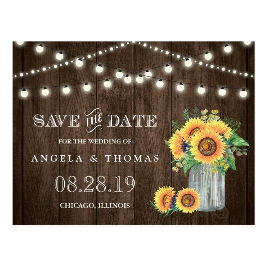 Sunflowers Save the Date Rustic Wood String Lights