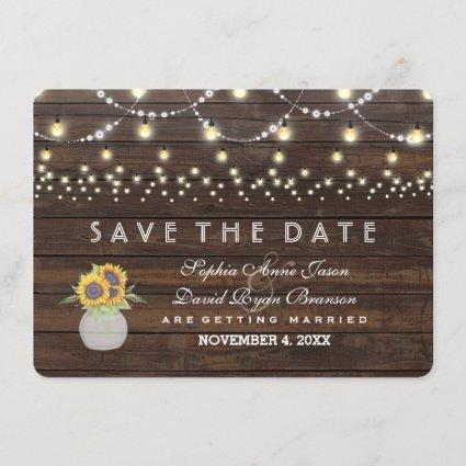 Sunflowers String Lights Old Wood Save The Date