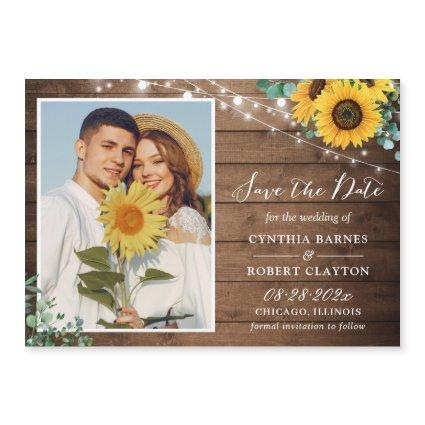 Sunflowers String Lights Save the Date Magnet