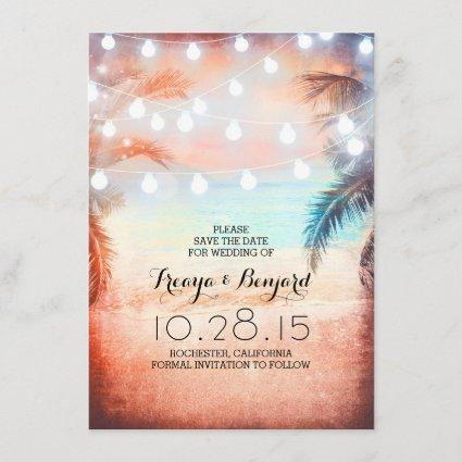 Sunset Beach & String Lights Save the Date