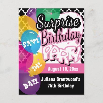 Surprise Birthday Party in Pink | Save the Date Announcement
