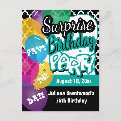 Surprise Birthday Party in Teal | Save the Date Announcement