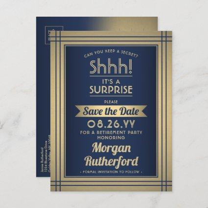 Surprise Retirement Party Navy Gold Save the Date Announcement