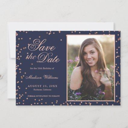 Sweet 16 Navy Blue Rose Gold Save The Date 3 Photo
