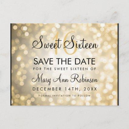 Sweet 16 Save The Date Gold Glitter Lights Announcement