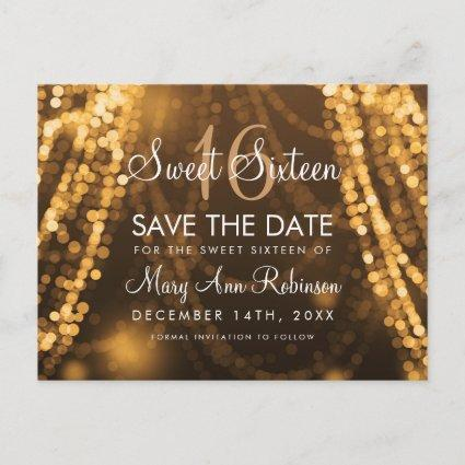 """Sweet 16 """"Save The Date"""" Gold String Lights Announcement"""
