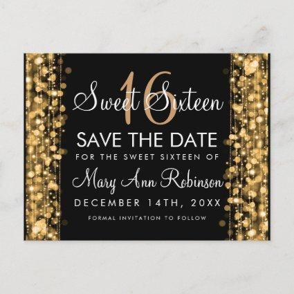 Sweet 16 Save The Date Party Sparkles Gold Announcement