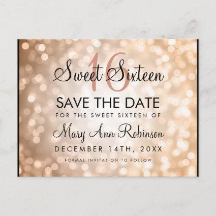 Sweet 16 Save The Date Rose Gold Glitter Lights Announcement