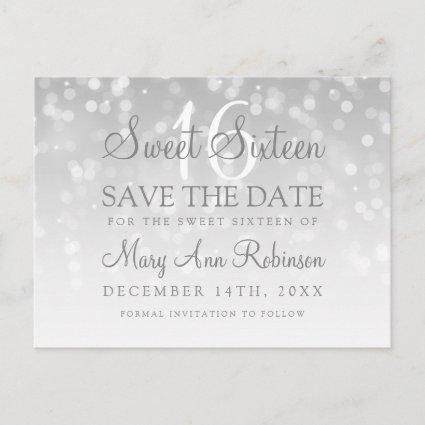 Sweet 16 Save The Date Silver Bokeh Sparkle Lights Announcement