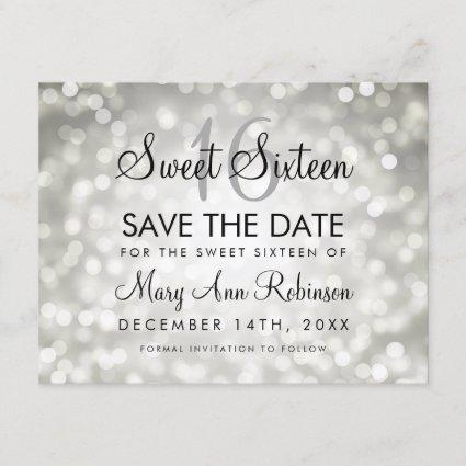 Sweet 16 Save The Date Silver Glitter Lights