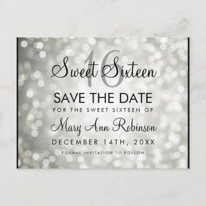 Sweet 16 Save The Date Silver Glitter Lights Announcement