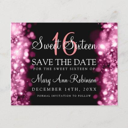 """Sweet 16 """"Save The Date"""" Sparkling Lights Blush Save The Date"""