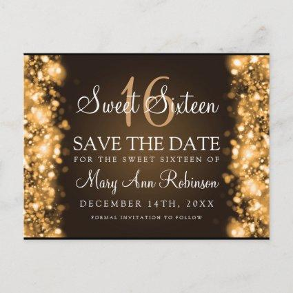"""Sweet 16 """"Save The Date"""" Sparkling Lights Gold Announcement"""