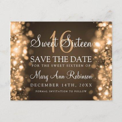 """Sweet 16 """"Save The Date"""" Sparkling Lights Gold Save The Date"""