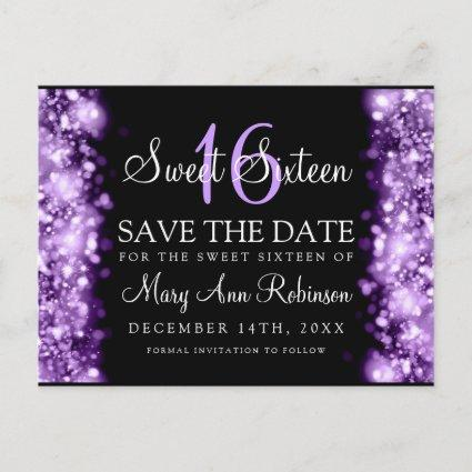 """Sweet 16 """"Save The Date"""" Sparkling Lights Purple Announcement"""