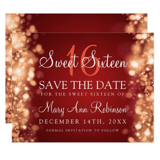 """Sweet 16 """"Save The Date"""" Sparkling Lights Red Gold Card"""