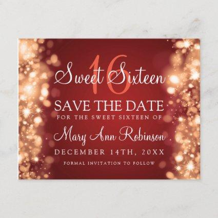 "Sweet 16 ""Save The Date"" Sparkling Lights Red Gold Save The Date"