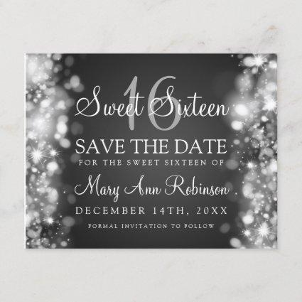 """Sweet 16 """"Save The Date"""" Sparkling Lights Silver Save The Date"""