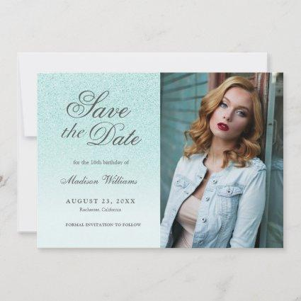 Sweet 16 Save The Date Teal Blue Glitter Photo