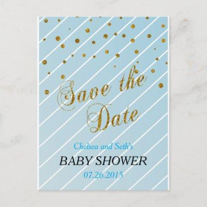 Sweet Baby Blue and Gold Confetti - Save the Date Announcement