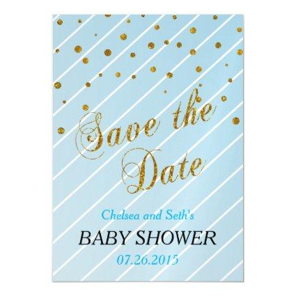 Sweet Baby Boy Blue U0026 Gold Confetti | Baby Shower Magnetsic Cards