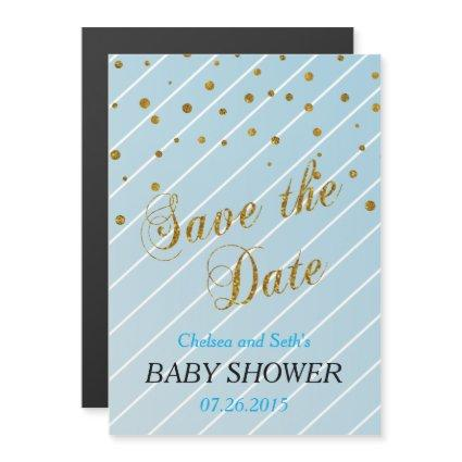 Sweet Baby Boy Blue & Gold Confetti | Baby Shower Magnetic Invitation