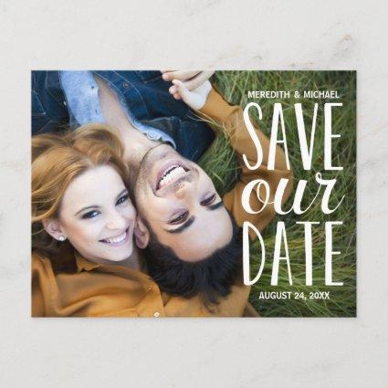 Sweet Hand Lettered Typography Photo Save the Date Announcement