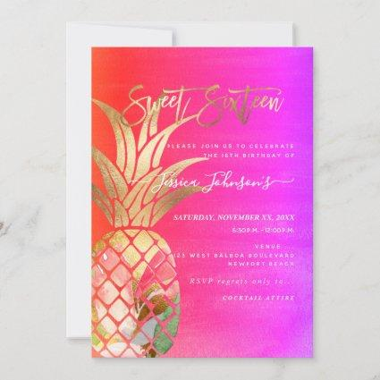 Sweet Sixteen, Faux Gold Watercolor Pineapple Save The Date