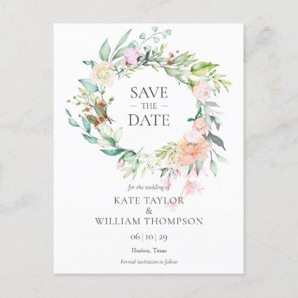 Sweet Summer Roses Garland Save the Date Announcement