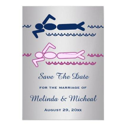 Swimmer Swimming Pink Blue Save The Date Wedding Magnetic Invitation