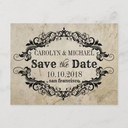 Swirl and Flourish antique Wedding Save the Date Announcement